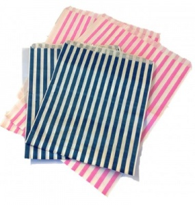 7 x 9 Striped Blue Bleached Kraft Paper Bag